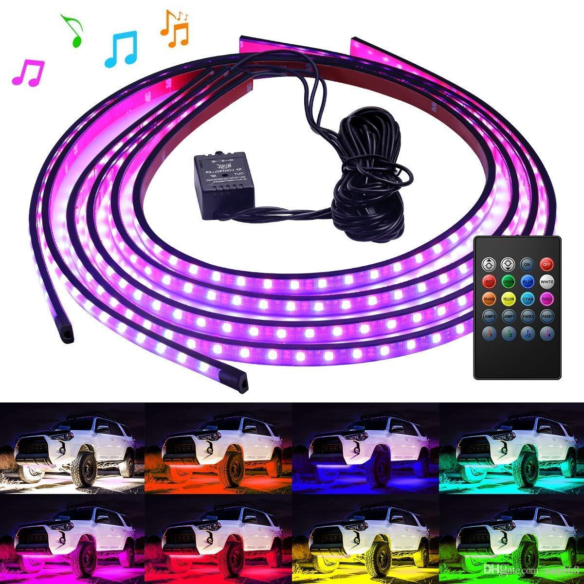 RGB 8 Colors LED Strips Under Car Underbody Music Control Neon Light Motorcycle