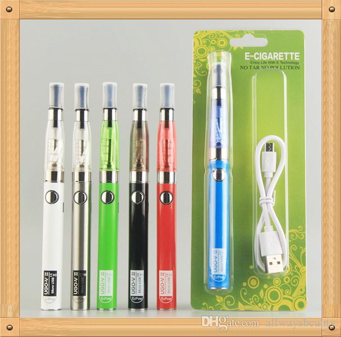 UGO CE4 ego starter kit CE4 Electronic Cigarette Blister kits e cig UGO-V II 2 650 900 mAh Passthrough 510 battery Charge by side Vaporizer