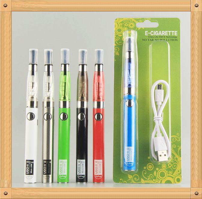 MOQ 5Pcs UGO CE4 ego starter kit Electronic Cigarette Blister kits e cig UGO-V II 2 650 900 mAh Passthrough 510 battery Charge by side Vaporizer
