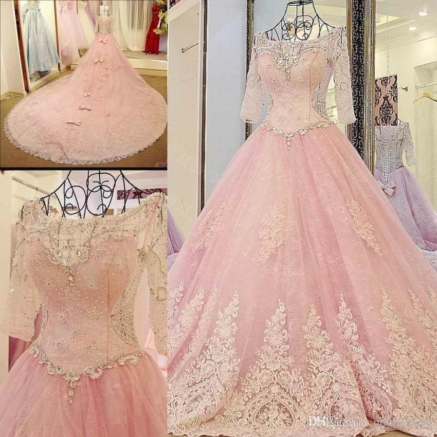 High Quality Blush Pink Wedding Dresses Long Sleeves Boat Neck Half Sleeves With Back Lace Up Luxury Wedding Gowns