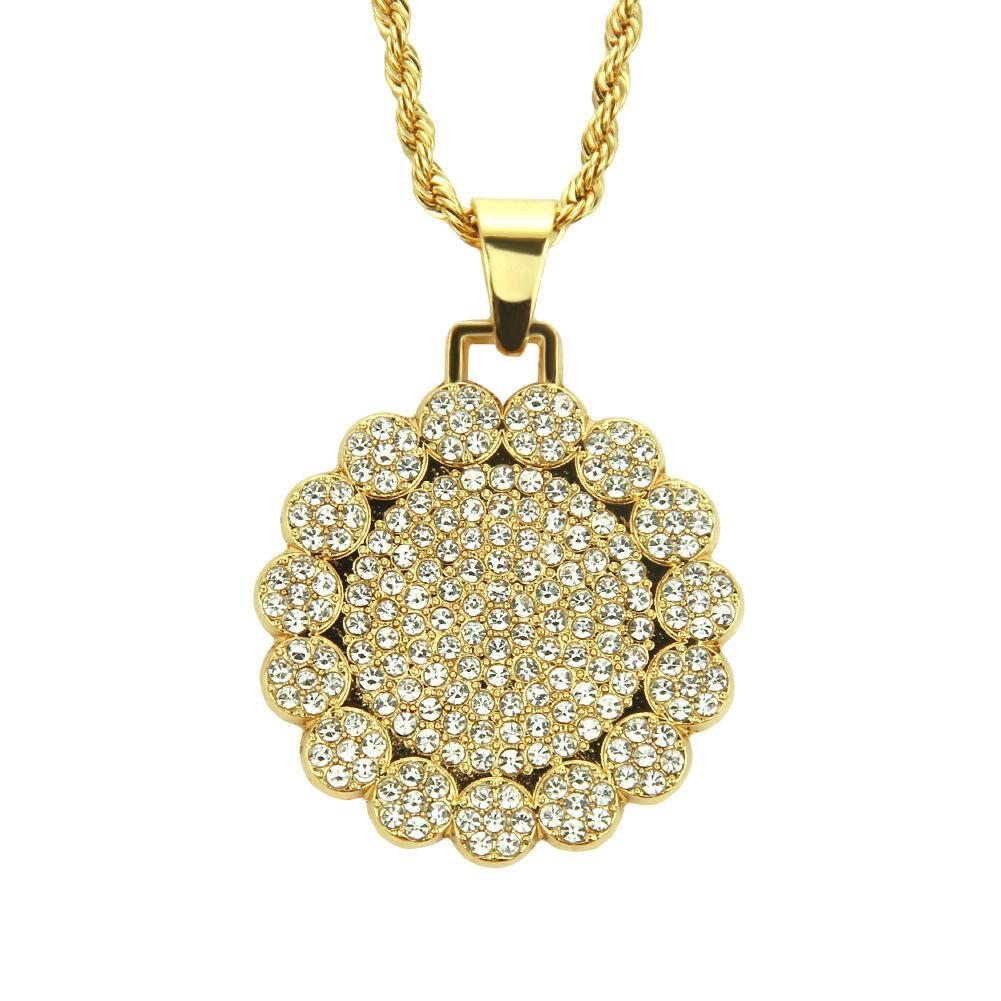 Redondo Medallón de Color Oro Colgante Collar de Cadena Encanto Charm Bling Cubic Zircon Hombres Mujeres Hip Hop Joyería Para El Regalo