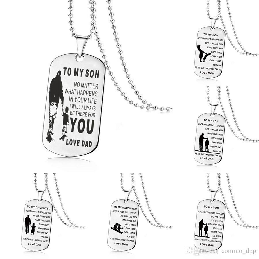 Aço inoxidável PARA MEU FILHO PARA Minha Filha colares Para Meninos Meninas Inspirado Carta dog tag Pingente de grânulos correntes Pai Mom Jóias Presente
