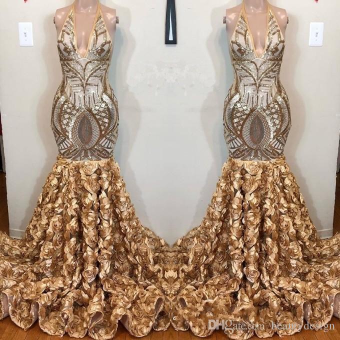 Reale Abbildungen Gold Pailletten V-Ausschnitt Abendkleid 2019 Rüschen Mermaid Event Kleider mit handgemachten Blumen Bottom Abendkleidern