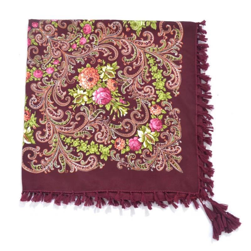 67cc7f5b9d2 Hot Sell Russia Wquare Fashion Decorative Scarf Handmade Tassel Flower  Design Scarves Blanket Shawl Handkerchief For Women Doggie Bandanas Chef ...