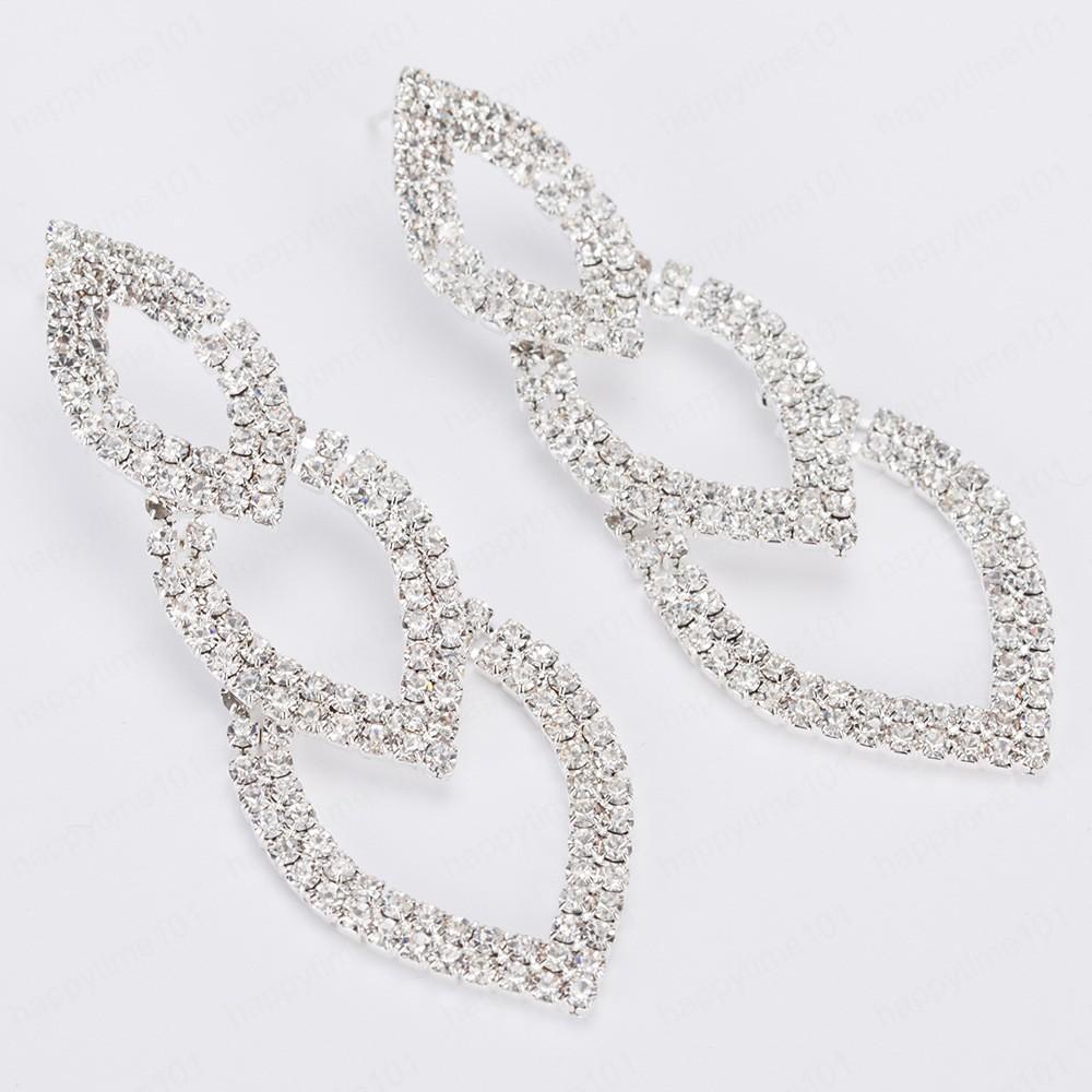Joyería caliente de la joyería de moda nupcial pendientes espumoso de color plata del cristal del Rhinestone cuelga de largo Pendientes de boda para las mujeres