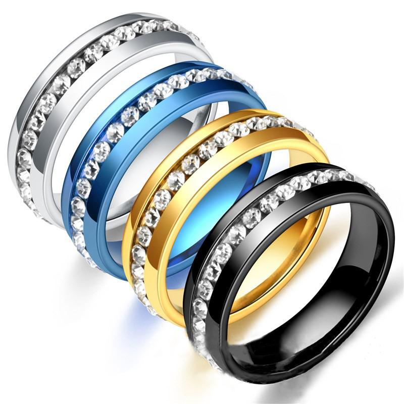 Fashion femmina crystal cz anello in pietra vintage in acciaio inox donne anelli di nozze Promise Anello di fidanzamento Promise Mens