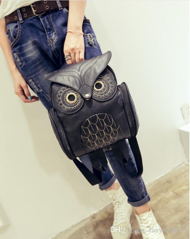 Moda tasarımcısı sırt çantası bayan PU kabartmalı baykuş sırt çantası Madber karikatür hayvan Messenger çanta yeni seyahat küçük sırt çantası