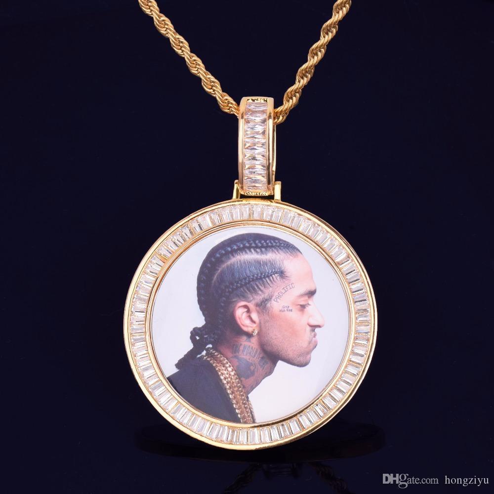 Neue Bilder Medaillons Runde Halskette Foto-Rahmen-Anhänger mit Seil-Kette Goldschmuck KubikZircon Rock Street Männer Hip Hop