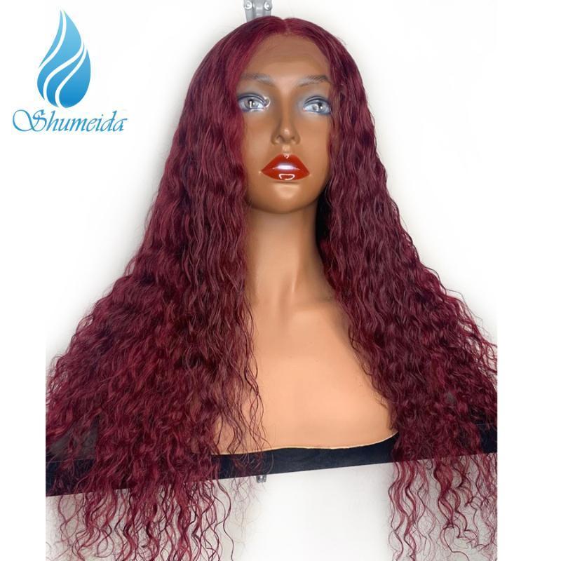 SMD 13 * 6 Кудрявый парик фронта шнурка с волос младенца Pure 99j # Цвет завитые Glueless шнурка человеческих волос Парики Pre щипковых бразильском Remy