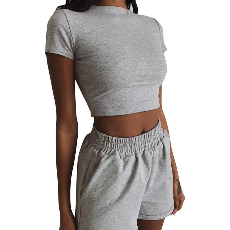 Sexy Summer Ensemble 2 pièces Survêtement femmes à manches courtes Crop Top et Shorts taille haute Assortiments Plus Size Sport Outfit SJ5993V T200610