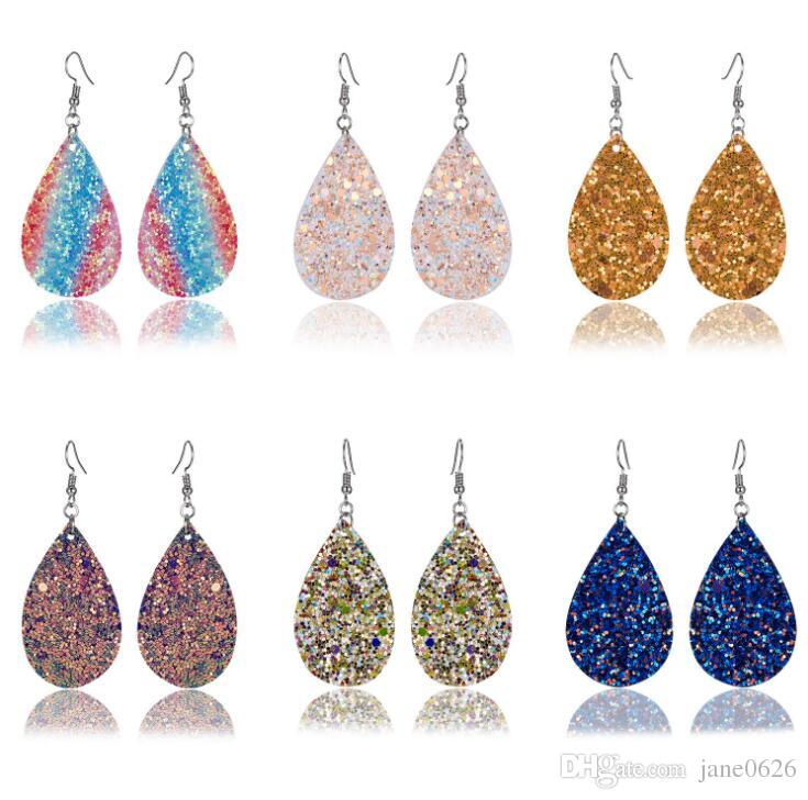 Trendy Women Earrings Euro-American Punk Wind Double-sided Sequined Water Drop Leather Earrings 12 colors free shipping
