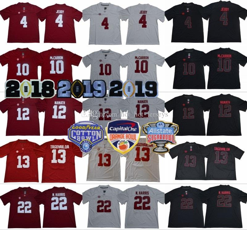 2020 Alabama Crimson Tide College 4 Jerry Jeudy Jersey 2018 Meisterschaft 12 Joe Namath 10 AJ McCarron 22 Najee Harris 34 Damien Harris