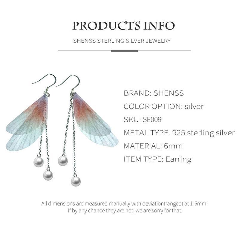 Wing shape earrings Shell Pearl Earrings for Women 925 Sterling Silver Jewelry