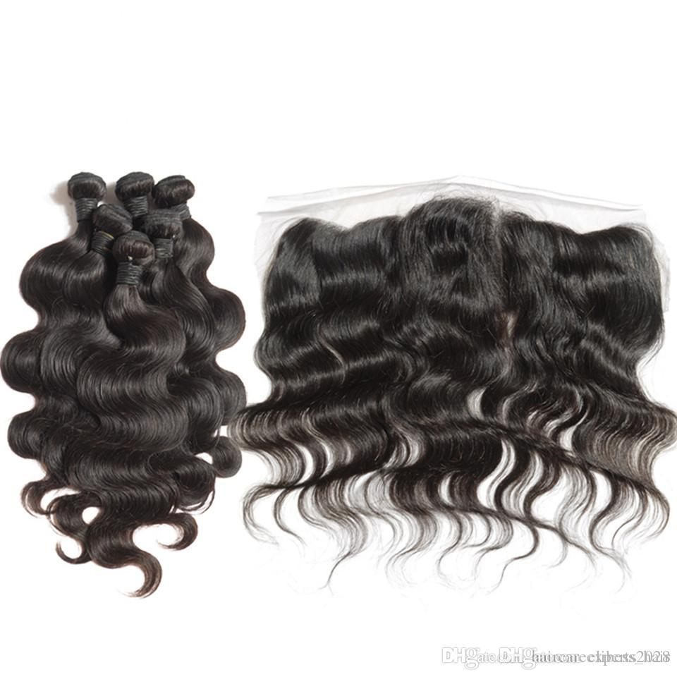"""3pcs Sexy Body Wave Indian Virgin Hair With Frontal,13""""X4"""" Lace Frontal Closure With Bundles 6A Virgin Unprocessed Human Hair"""