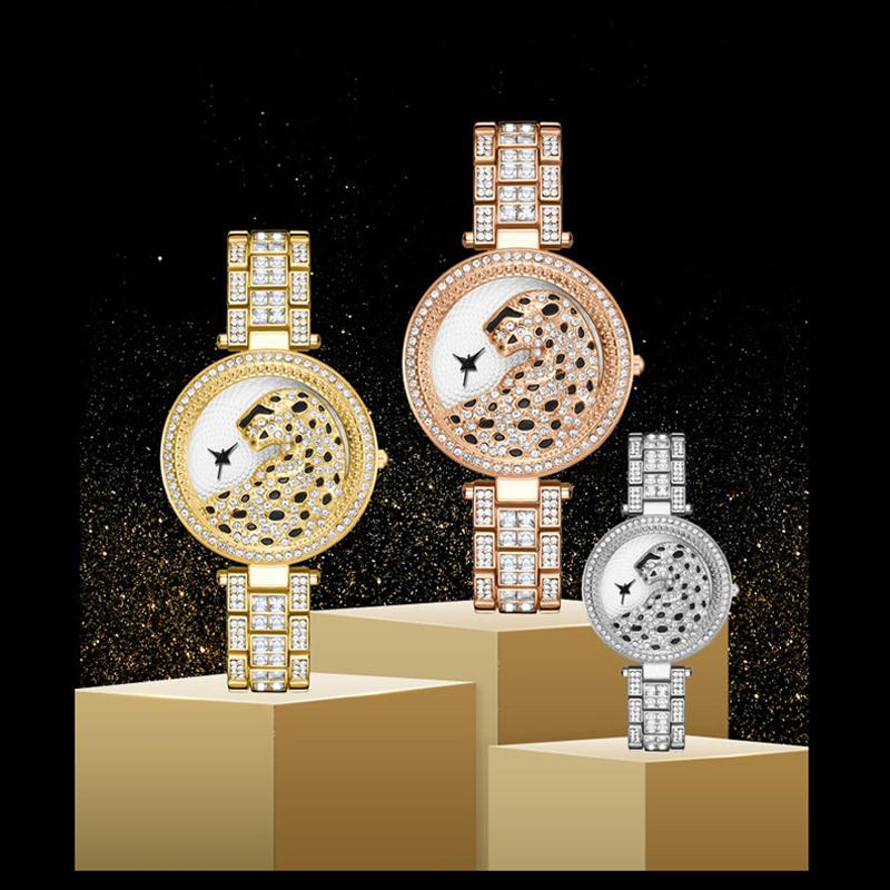 Free DHL 3 Colors Classic Ladies Steel Band Watch Fashion Bling Rhinestone Cheetah Pattern Wristwatch for Women Atmospheric Gifts
