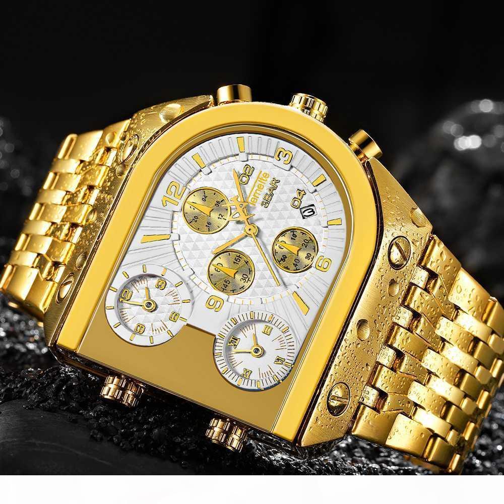 Mâle Horloge Sport Montre Hommes Quartz Analogique Horloge 3 fuseau horaire sous-cadrans conception Grand Cas tendance mode or Poignet Montres relogio