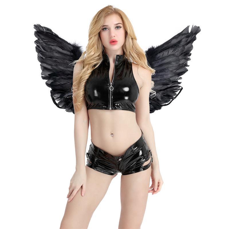 Dans Partisi Cosplay Kostüm Sahne göster Masquerade Karnaval Tatil Hen Gece Fantezi Elbise için Peri Tüy Melek Kanatları