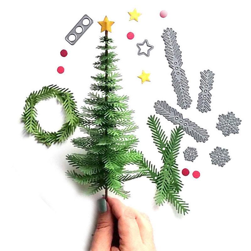 DIY قطع معدنية وفاة شجرة عيد الميلاد استنسل سجل القصاصات ورقة ورقة البوم النقش الحرف النقش قطع يموت أداة