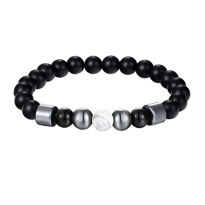 JAAFAR 2018 Nuevo modelo de perlas naturales pulsera del encanto 8MM naturales cuentas de piedra de lava negro pulseras de la joyería de rock mujeres AS363