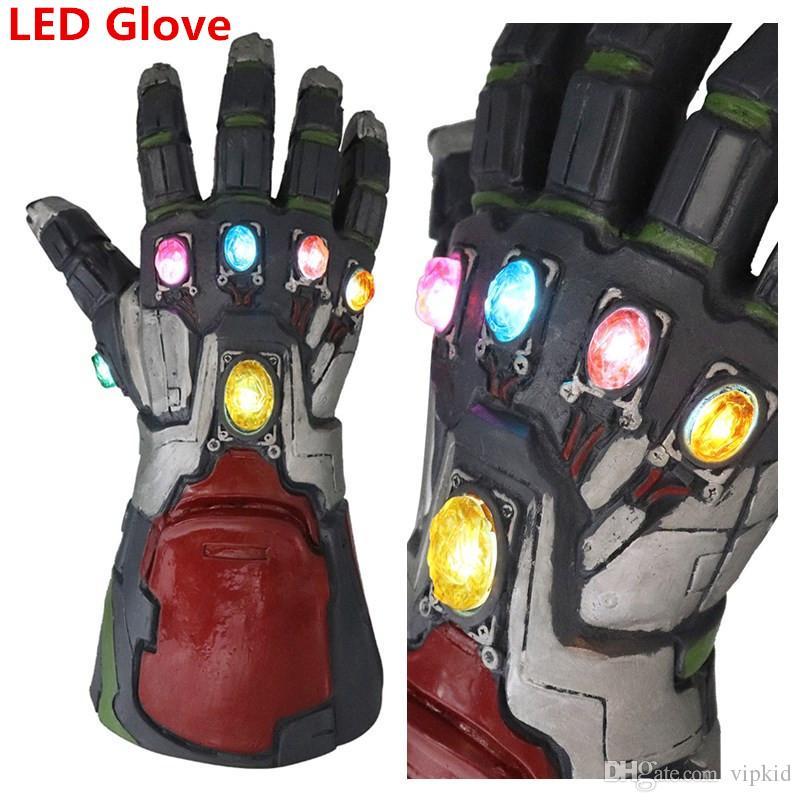 Avengers 4 Endgame Thanos Iron Man LED Guantes luminosos 2019 Nuevos niños adultos Halloween cosplay Látex natural Infinity Gauntlet Toys C22