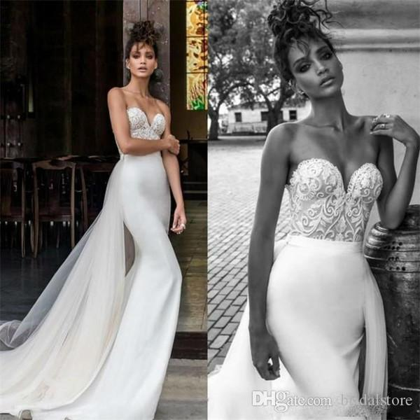 Julie Vino Mermaid Wedding Dresses With Detachable Train Strapless Appliques Vintage Country Boho Wedding Dress Boleros Cheap reception gown