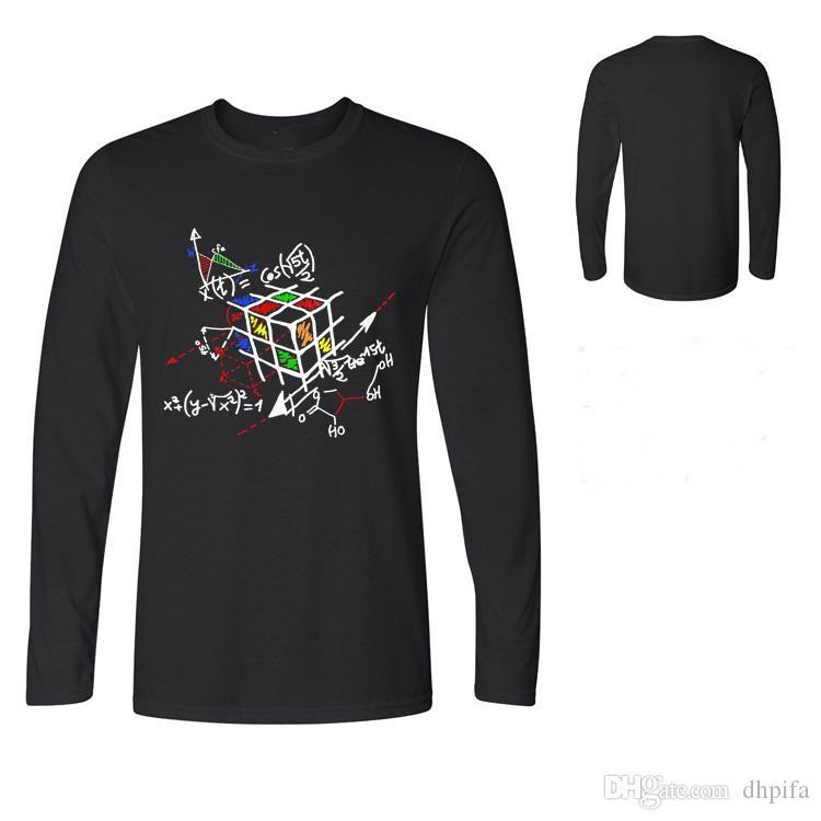 Fashion Magic Cube T-shirt Long sleeve Tee Cotton Tops The Big Bang Theory Geek Cube tshirt Geometric Cube Men T shirts Polos