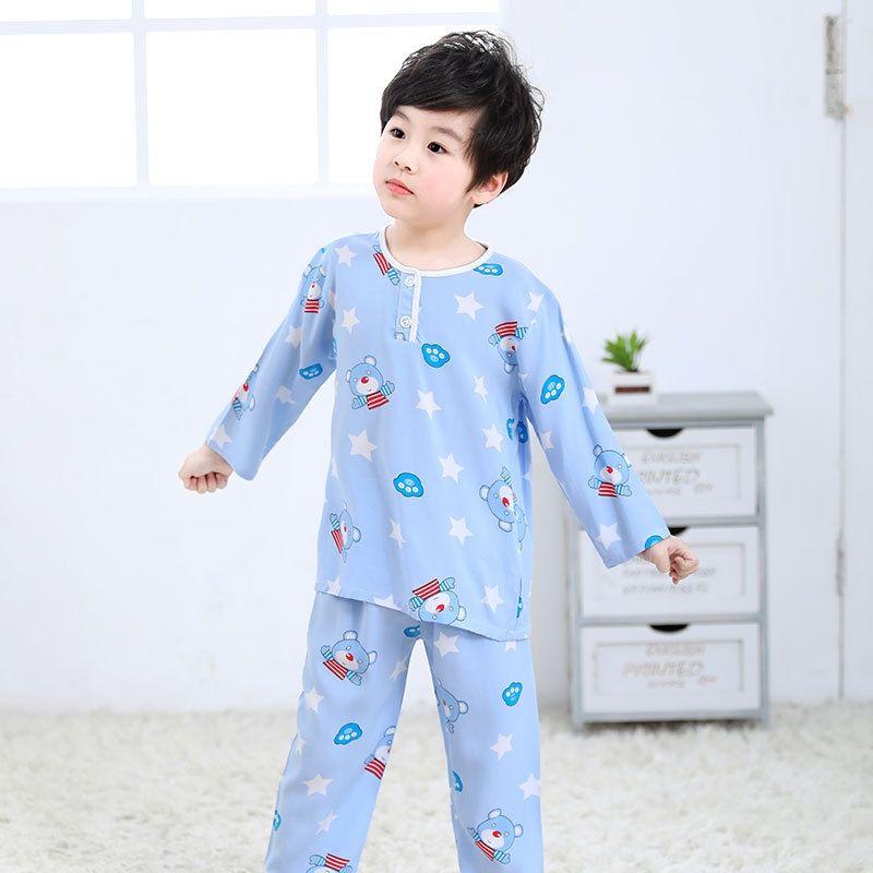 LwoKV algodón de seda de los niños muchachos del juego de dormir y aire acondicionado pijamas de seda de algodón niñas pantalones de manga larga delgada de aire Condit