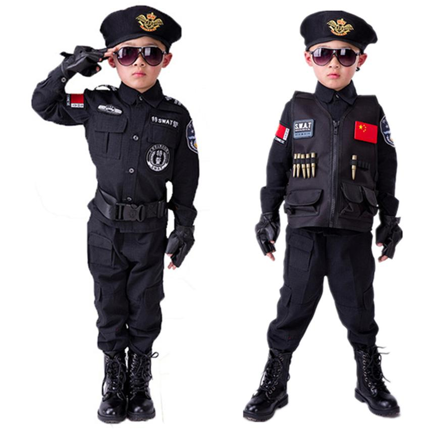 Мальчики полиции Дети форменные Дети Cosplay костюмы Полицейские Специальный армии Военная форма Детский сад Performance Одежда SetMX190921