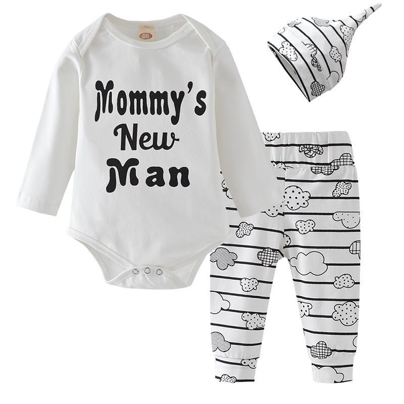 3Pcs Newborn Baby Boy Clothes Set Autumn Infant Outfits Mommy's New Man Cotton Romper Tops Pants Hat Letter Cloud Clothing Sets