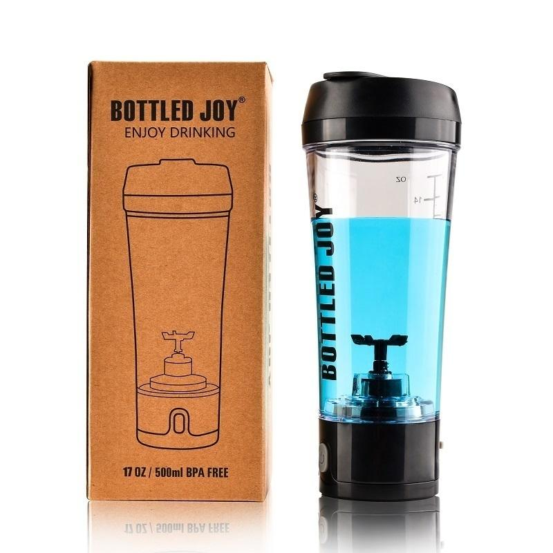 Bottled Joy Whey Protein Shaker Bottle Rechargeable Sports Joyshaker Water Bottle Electric Shaker Gym Protein 450ml/16oz Q190525