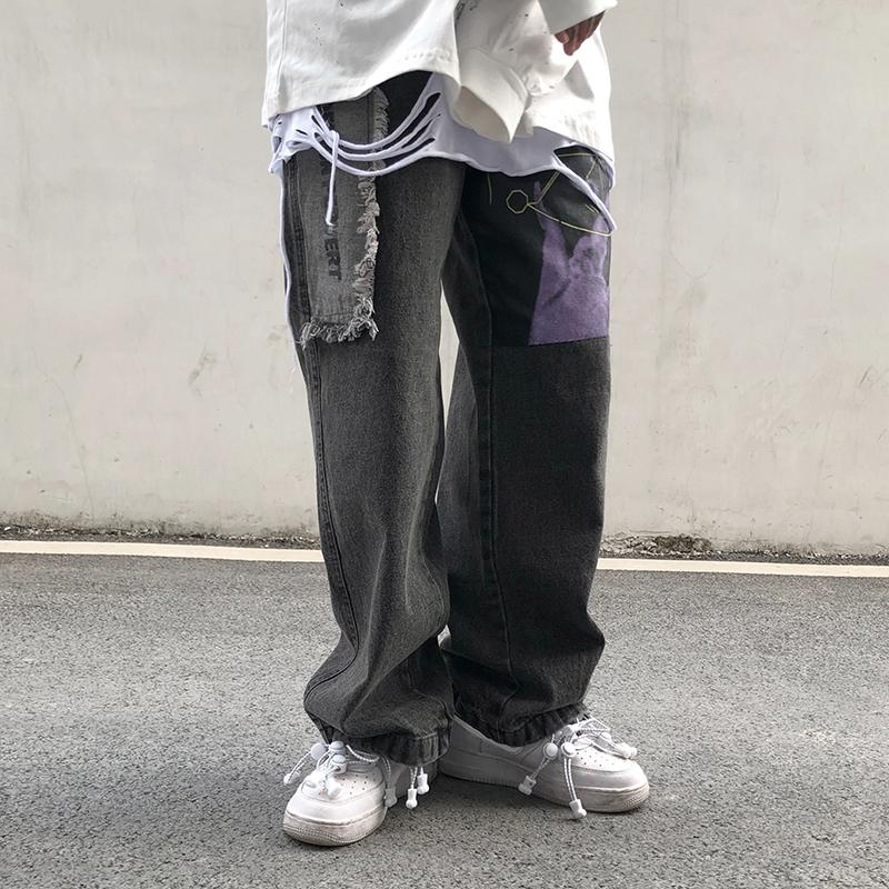 Мужские джинсы Uncledonjm декадентные брюки уличные моды хип-хоп прямой джинсовой велосипед