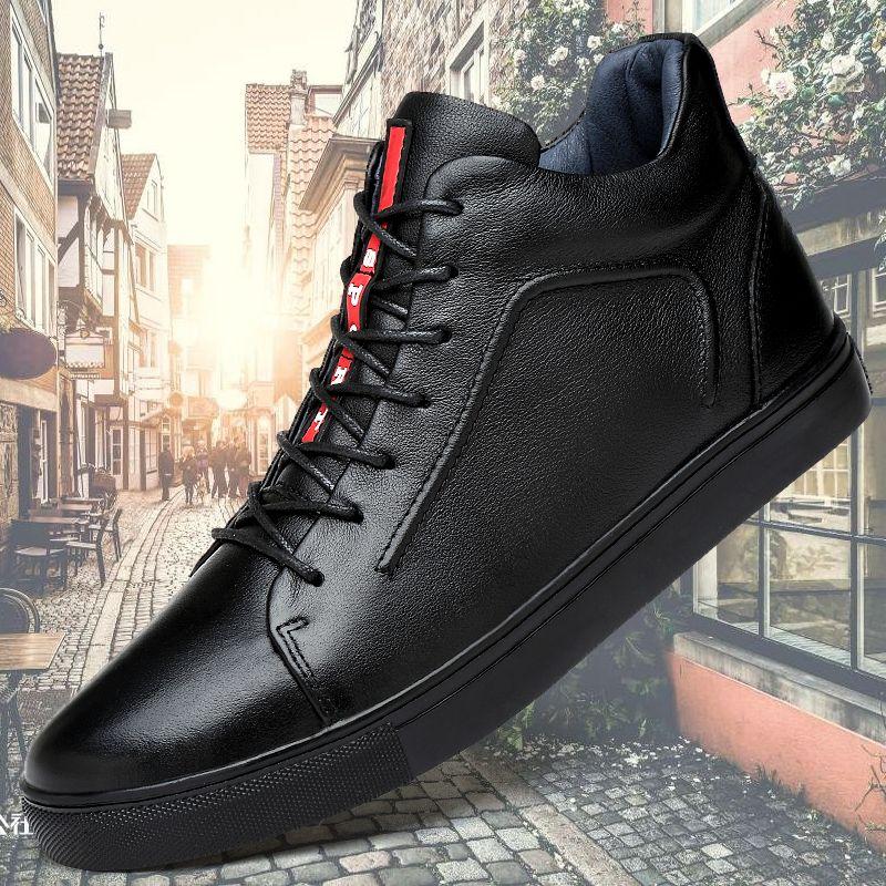 Véritable Casual cuir Chaussures Hommes Printemps Mode Homme cheville Bottes confortables Chaussures souples Hommes Mocassins High Top Bottes