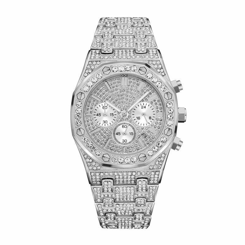 Función de oro del reloj para hombre Todo Subdial Trabajo cronógrafo Diamond Wacth completa heló hacia fuera mira el acero inoxidable de los hombres reloj de cuarzo de calidad Movimiento