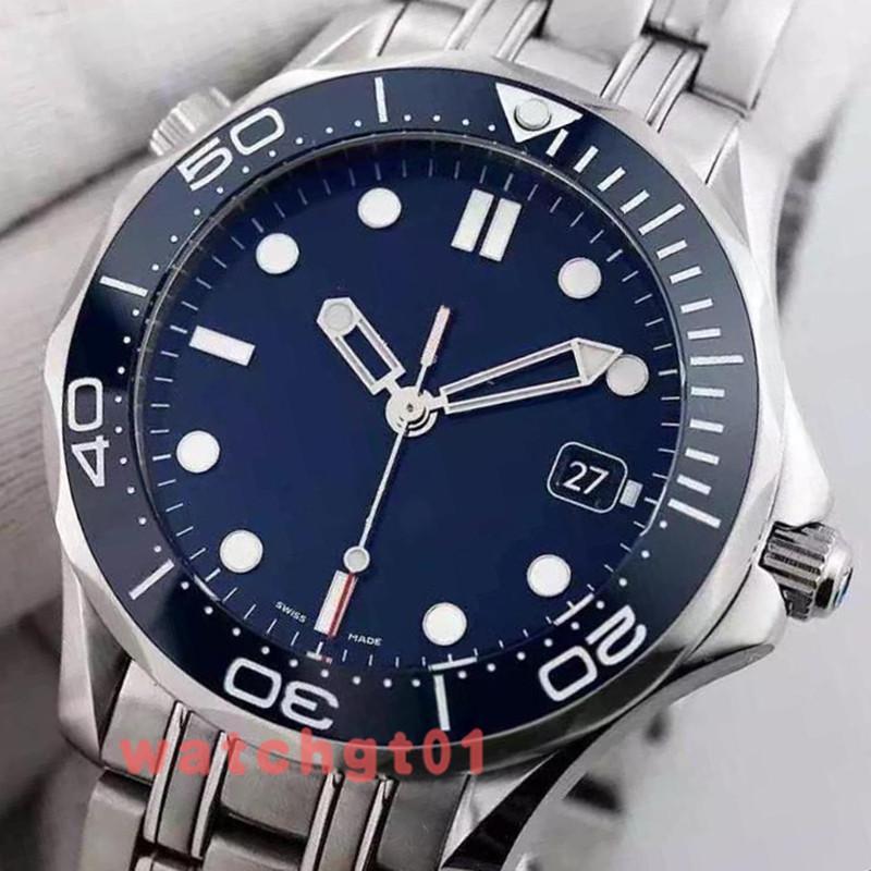 Mens profissional clássico 300M James Bond 007 Men Blue Dial Relógios de pulso auto-vento do Movimento Automático Relógio Mecânico Homens