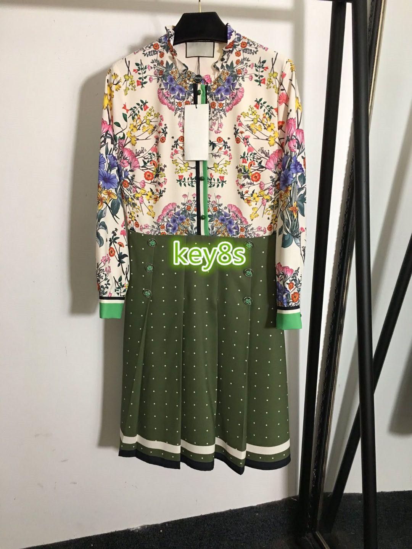 하이 엔드 여성 여자 드레스 긴 소매 옷깃 목에 두 번 패션 여성의 A-linre 드레스를 인쇄 컬러 플라워 패턴을 브레스트