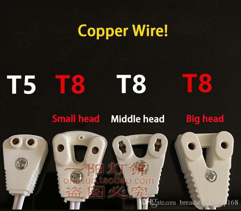 T5 LED Fluorescent Tube Lamp Head Connector Cable T8 Small Head Lightbox Wire T5 T8 Tube Clip Copper Wire 10 Shares
