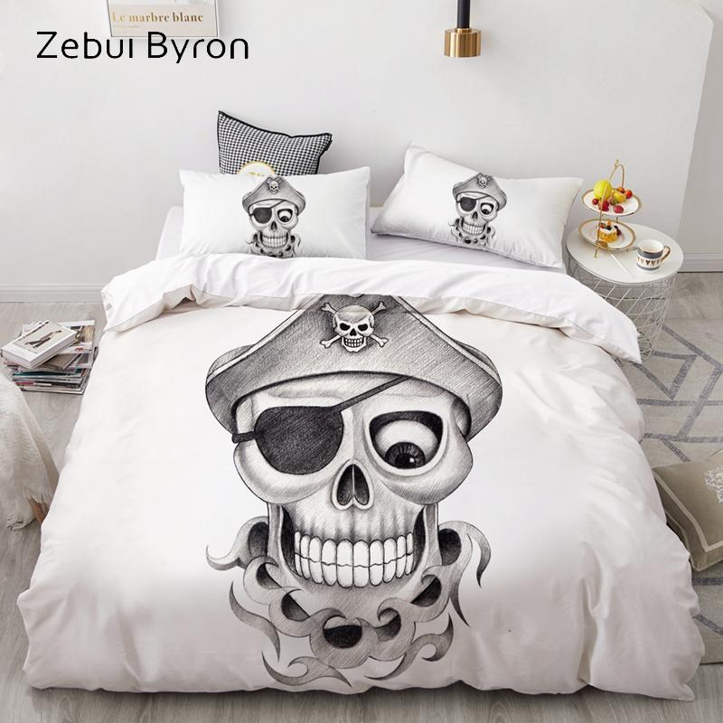 3D Duvet Cover Set Custom,Bedding Sets USA/AU/Europe/Queen/King,Quilt/Blanket Cover Set,bedclothes pirate Skull,drop ship
