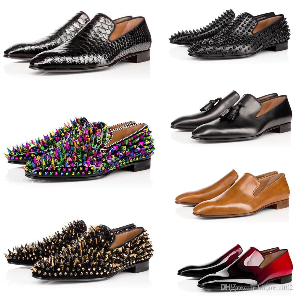 2020 nuevo rojo de fondo zapatos de calidad superior de los hombres del ante estilista puntos de los zapatos de cuero de zapatos de cuero genuino las zapatillas de deporte bajas planas de los remaches de los hombres con la caja