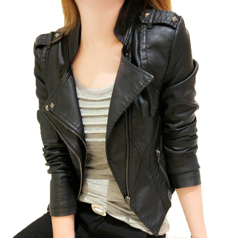 2018 autumn and winter wear new ladies locomotive PU leather clothing female short section Slim jacket leather jacket leather Y191102