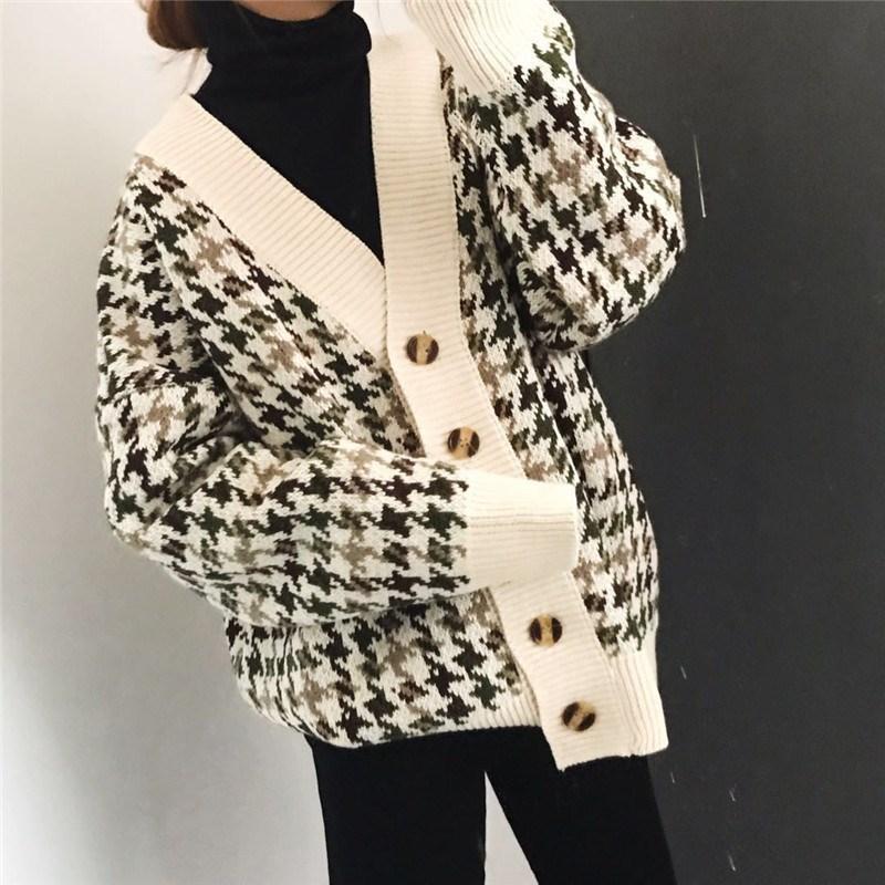 neue loser Plaid Cardigan übergroße Pullover Frauen Frühling und Herbst Mantel koreanische lange Hülsen-Strickjacke Frühling neues freies Verschiffen