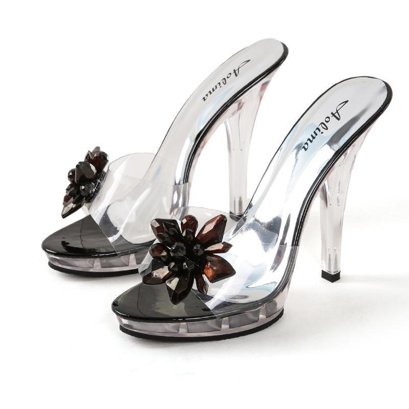 Zapatillas transparente bombas de las mujeres Flores Cristal dulce deslizadores de la mujer punta abierta al aire libre femenino Zapatillas de verano Sandalias de la mujer