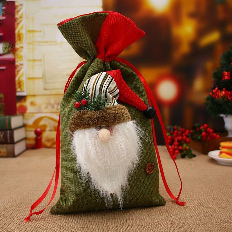 Noel Malzemeleri Noel Baba Hediye Çanta Çuval Keten Tatil Süslemeleri Noel Çocuk Şeker Hediye Çanta Dekorasyon
