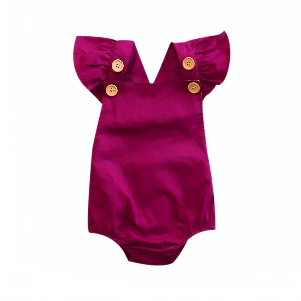 Simple Purple Nice Newborn Baby Kids Girl Backless Romper Jumpsuit Outfits Clothes Sunsuit