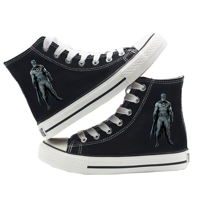 DC Comics Justice League Batman Kara Şövalye Karikatür Yüksek Top Nefes Tuval saya Sneakers Koleji Moda Ayakkabı