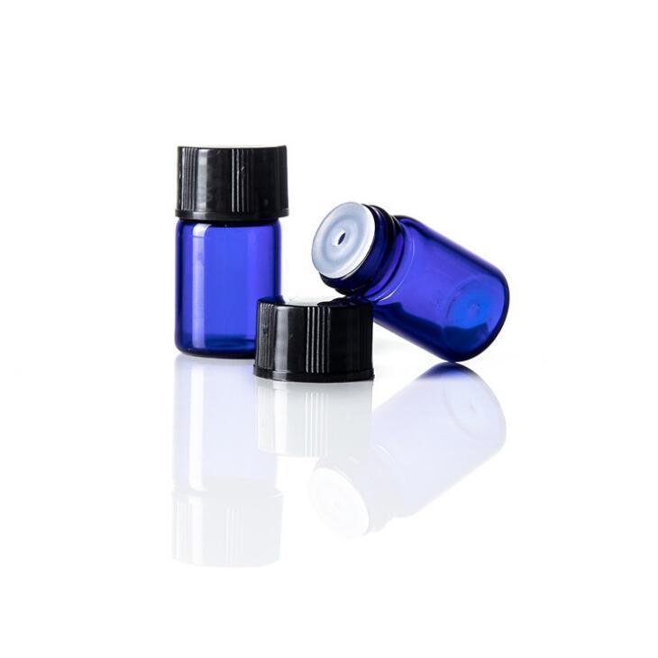 100 x 2 mL Cobalt Blue Glass Bottle óleo essencial com tampa de plástico de 2 ml garrafa de vidro Mini frascos Mini Glass Container LX2226