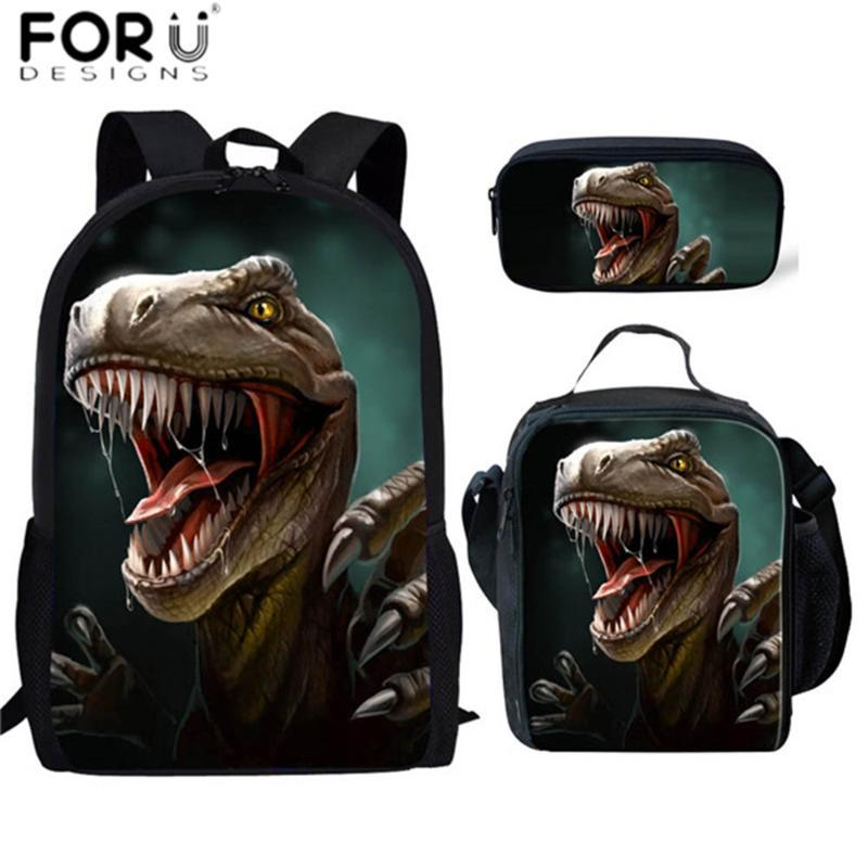 FORUDESIGNS Design School Borse 3set / PCS per ragazzi Tyrannosaurus Stampa scuola dello zaino Uomini Dinosaur Animal Style Borse Book