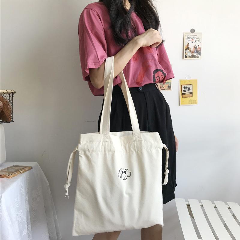 2020 nuovo sacchetto femminile semplice borsa di tela selvaggio di stampa del fumetto grande studente spalla tasca fascio tela capacità