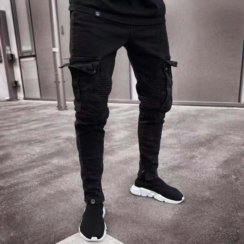 19SS dos homens do desenhista Jeans 2019 Primavera Negra rasgado Buracos afligido Design Jean Pencil Pants Pockets Hommes Calças