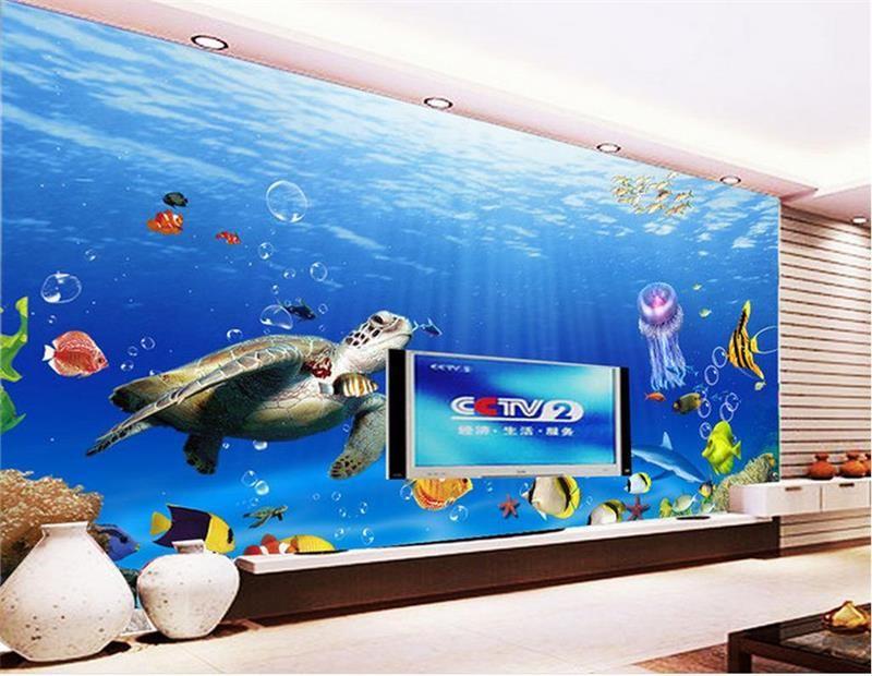 العرف حجم 3d صور خلفيات غرفة المعيشة تحت الماء العالم البحر السلاحف 3d صورة أريكة التلفزيون خلفية خلفية جدارية غير المنسوجة ملصقا