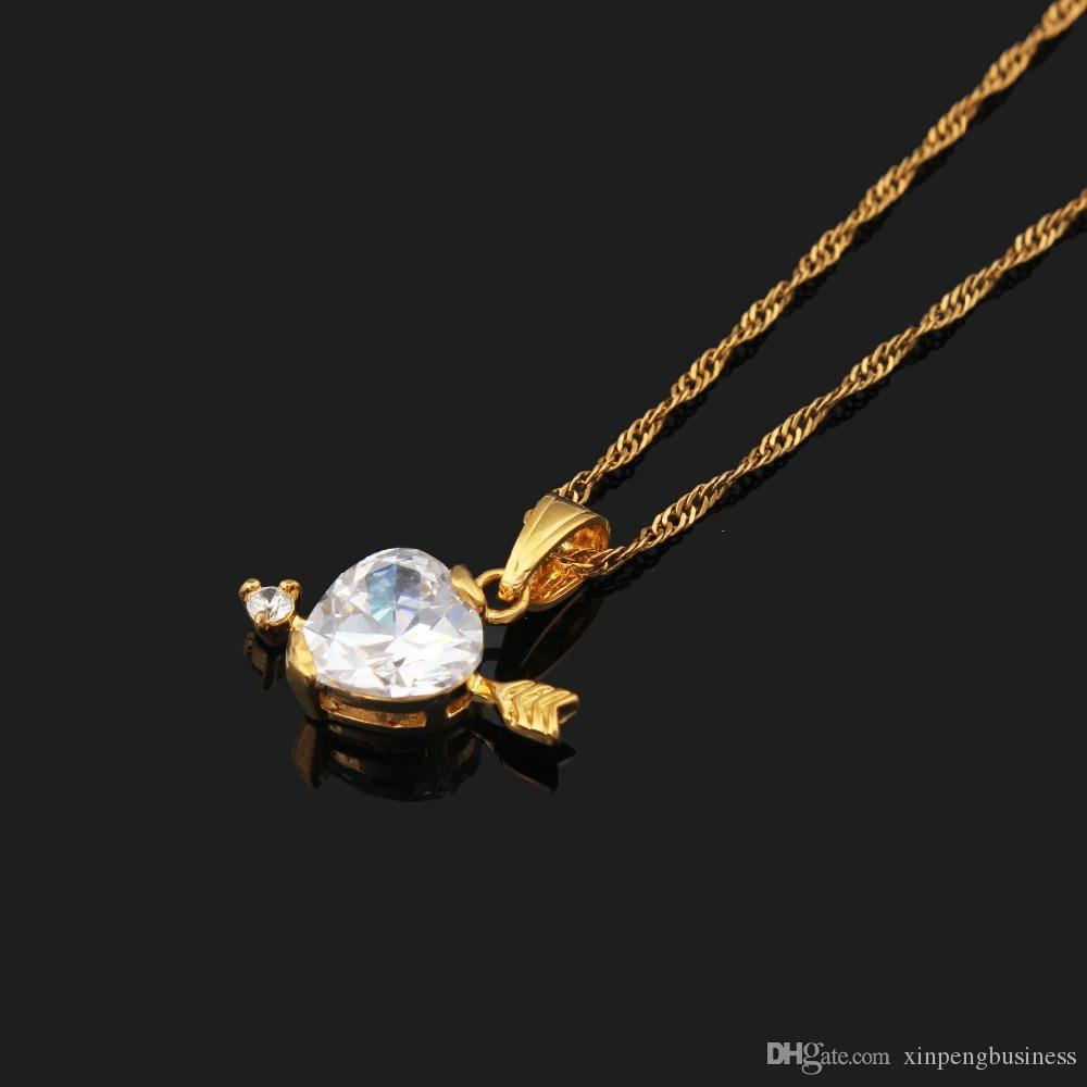 10k Fine Yellow Solid Gold GF Necklace Cupid Arrow Shoots Through The Heart CZ Pendant Jewelry Women wholehearted LOVE